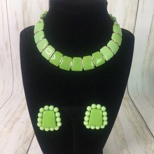 Vtg Lime Green Choker w/Clip Earrings W. Germany